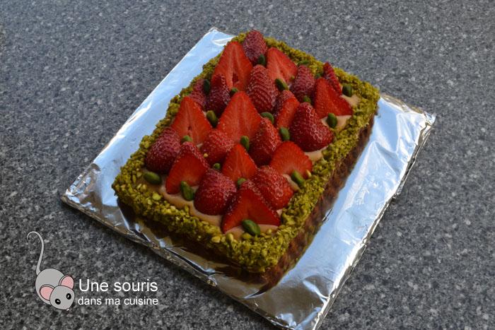Tarte aux fraises sur un sablé breton